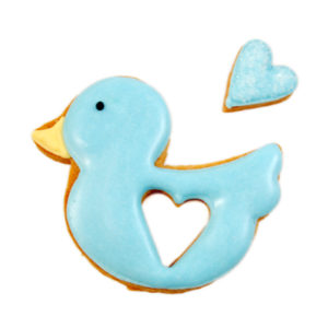 Blue Duck of Love Biscuit Card