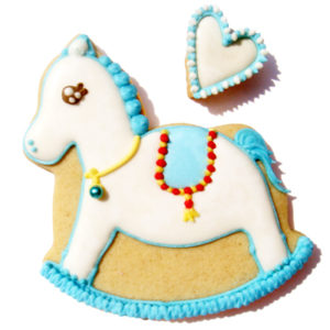 Blue Rocking Horse Biscuit Card