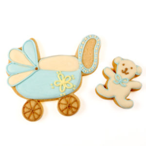 Blue Teddy and Pram Biscuit Card