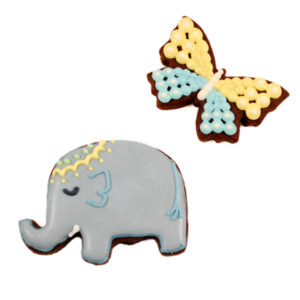 Elephant and Butterfly Message Biscuit Card