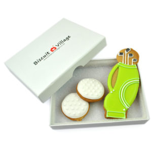 Golf Bag and Balls Biscuit Card