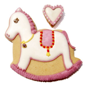 Pink Rocking Horse Biscuit Card