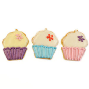 "Trio of Cupcakes Biscuit Card – ""Purple Parade"""